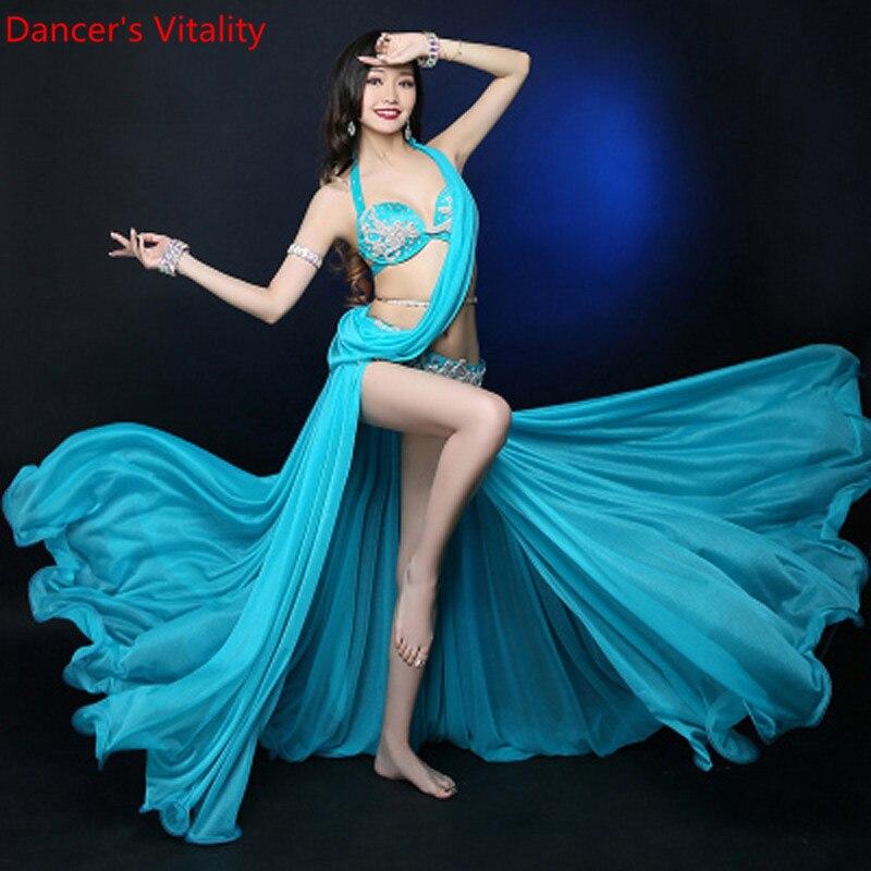 New Professional  Customize High Quality Women Bellydance Costume Bright Yarn Costume Set Of 3pcs/set