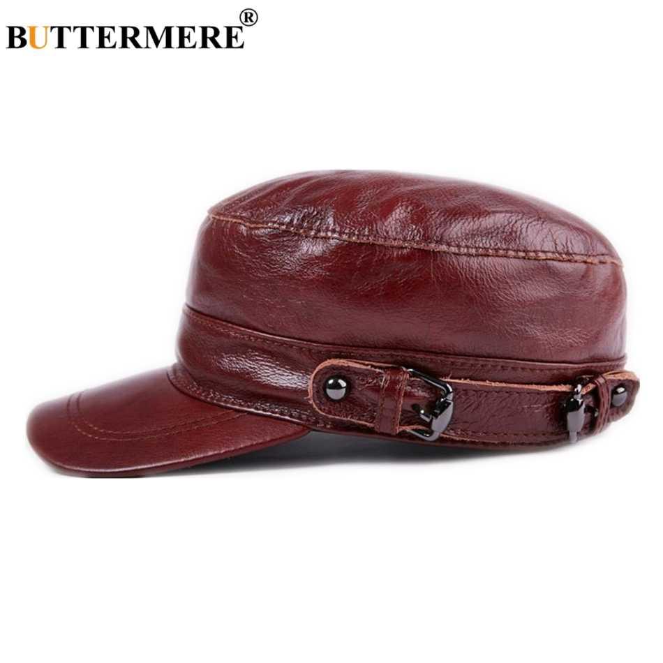BUTTERMERE de cuero genuino sombrero militar rojo mujeres hombres Unisex  gorra del ejército primavera otoño antaño 922a1588337