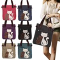 New Fashion Women's Handbag Canvas Bag With Cute Cat Appliques Portable Causal Ladies Small Bags