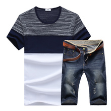 2017 New Male Casual Short Sleeve T-shirt Suits / Men's Round Neck Striped Stitching T-shirt + Straight Denim Cowboy Shorts