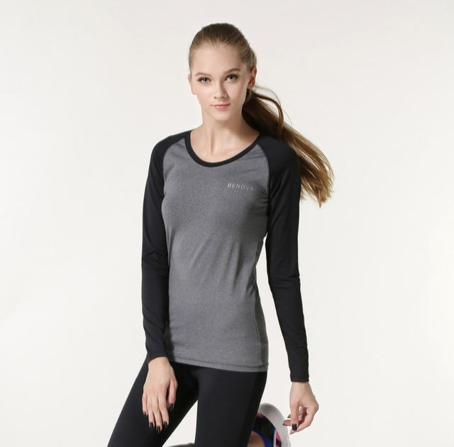 4a0363a29 Autumn Winter Women Fitness Sportswear Long-sleeve Training T-shirts  Patchwork Womans Workout Shirts Yoga JoggersTops roupas