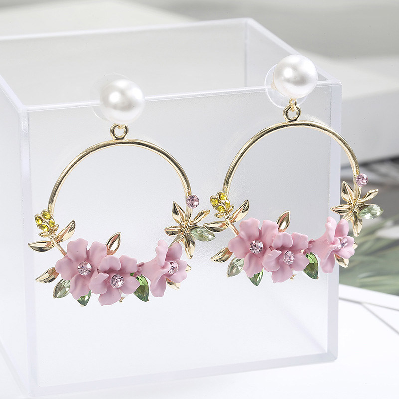 Newly Women Round Circle Dangle Earrings Sweet Flower Five-pointed Star Decor Luxury Jewelry