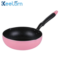 Keelorn 26CM Pink Color Non Stick Without Pot Cover Pans General Use For Gas And Induction