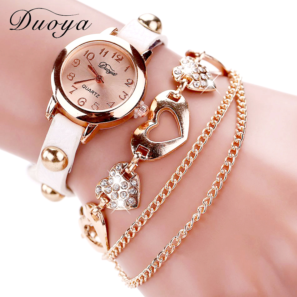 Duoya Brand Fashion Watches Women Luxury Rose Gold Heart Leather Wristwatches Ladies Dress Bracelet Chain Quartz Watch Clock New luxury brand new silver watch women fashion quartz wristwatches butterfly rose dial watches women dress quartz watch clock