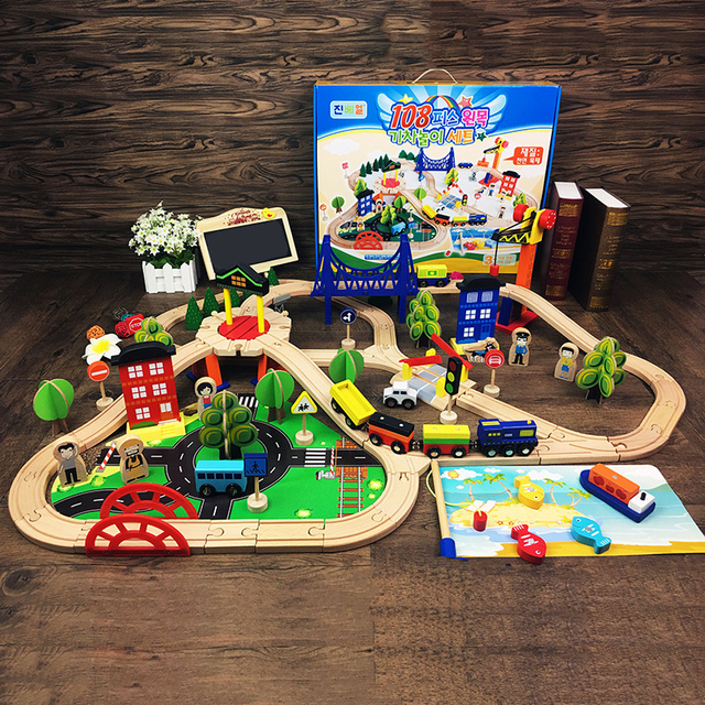 Us 8893 40 Offwooden Trains Track Toys Set Magical Track Thom And Friends Station Bridge Accessories Railway Model Brio Toys For Children In