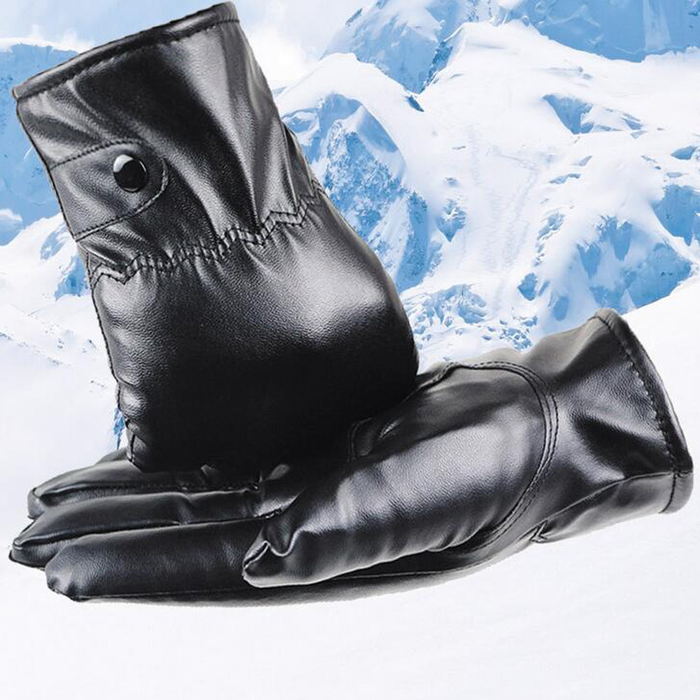 Mens Luxurious Leather Keep Warm Winter Super Driving Warm Cashmere Gloves Cashmere Comfortable Gloves L50/1225
