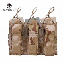 Emerson Military Tactical Triple 5.56 & Pistol Magazine Pouch Knife Flashlight Sheath Airsoft Hunting Ammo Molle Bag EM6363MCAD