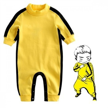 Cotton Spring Autumn New Bruce Lee Yellow Jumpsuit   Romper   Newborn Baby Long Sleeved Super Adorable Baby Climbing Clothing
