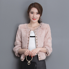 SusanDick Brand Fashionable Ladies Fur Coat Luxury Warm Rivets Real Rabbit Fur Short Jacket Quality Women Winter Fur Vest Coats