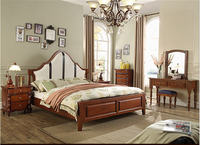 Europe and America Genuine leather bed solid wooden Soft Bed Bedroom Furniture cama muebles de dormitorio / camas quarto 1.8*2 m