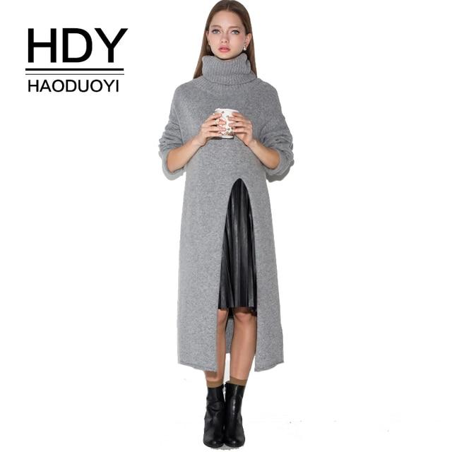 HDY Haoduoyi Для женщин серая водолазка с длинным sleevee Платье-свитер осень теплая с боковыми длинные свитера Пуловеры дамы вязать Топы