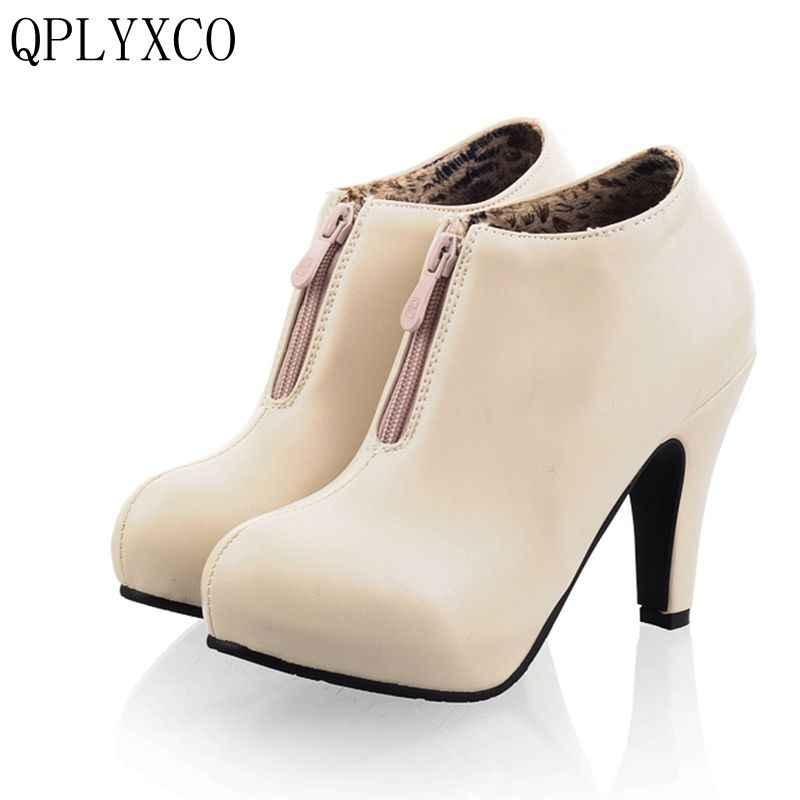 """2017 החדש fahion QPLYXCO גדול וגודל קטן 32-43 עקבים סופר גבוהים נשים (10 ס""""מ) נעליים נעליים באיכות גבוהה חתונה צד גברת C-11"""