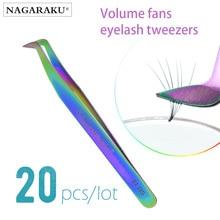NAGARAKU 20pcs Bulk Verkoop Russische wimper extension pincet wimper pincet valse wimper pincet 3D nauwkeurige lash pincet