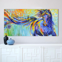 handmade beautiful horse oil painting Wall Art Canvas Animal Painting Colorful Running Horse Picture Home Decor For Living Room