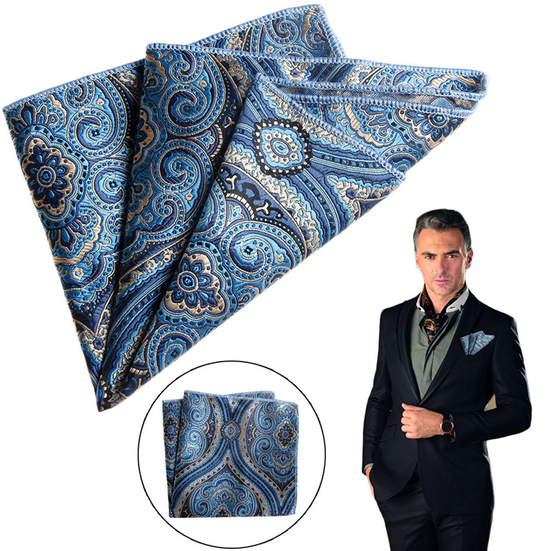 Chic Men Satin Solid Floral Pocket Square Plain Solid Satin Handkerchief  Formal Suits Paisley Party Floral Hanky 23cm 9 Pattern