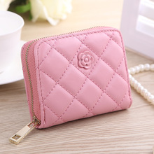 Short Wallets PU Leather Female Plaid Purses Lingge Rose Lady single pull short student girl bag fashion Coin mini wallet