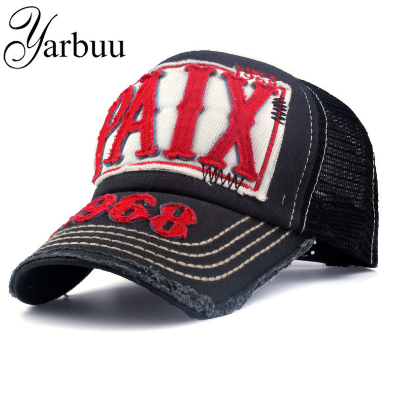 [YARBUU] Kšiltovky s dopisem Prodyšná síťová čepice Neformální Snap Back Mesh Hat letní značková čepice pro muže a ženy