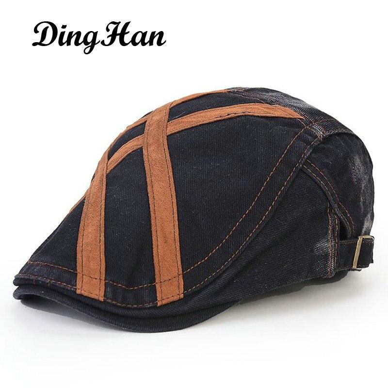 [DingHan] Brand Vintage England Style Visor Gentleman Beret For Men Snapback Hats Casquette Baseball Cap Gorras Planas Flat Caps women artist beret cap french style autumn