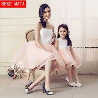 2016 Spring Sleeveless Vestido Wedding Party Mother Daughter Matching Dresses Fashion Bows Bra Mon Daughter Ball
