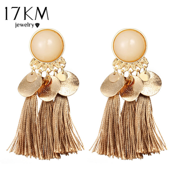 17KM Bohemian Round Tassel Drop Earrings For Women 7 Color Long Fabric Pendant Dangle Earring Fabric Statement Ethnic Jewelry