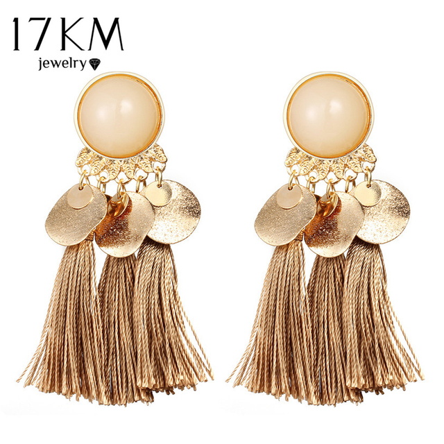 17KM Bohemian Round Tassel Drop Earrings For Women 7 Color Long Fabric Pendant D