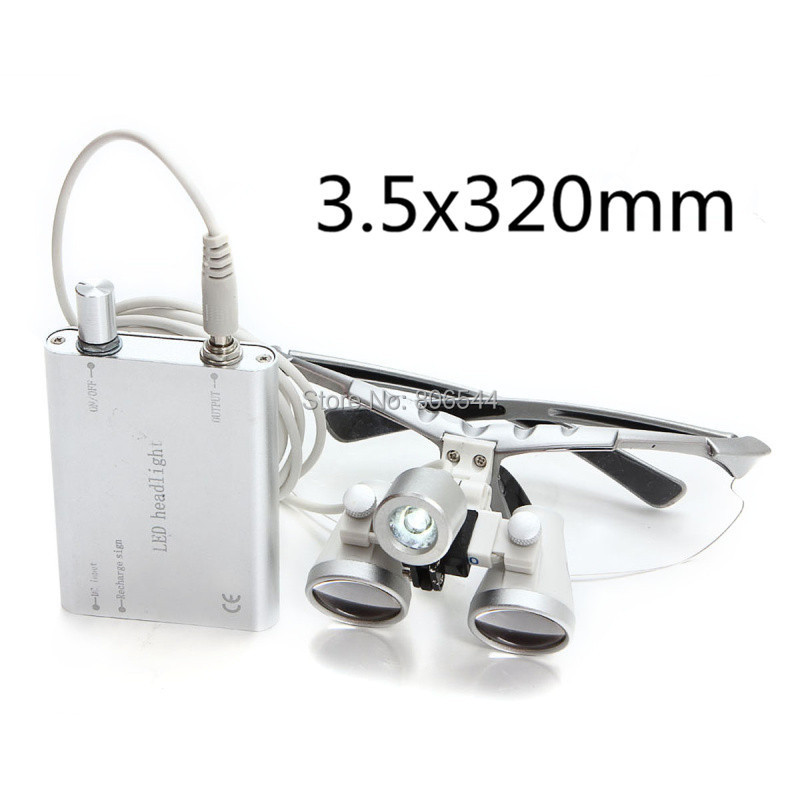 3.5x320mm Dentist Dental Surgical Medical Binocular Loupes Optical Glass Loupe + Portable LED Head Light Lamp silver 2015 Hot  A 2pcs pipe diameter 8mm universal dental optical fiber curing light lamp guide rod tip glass led tip black