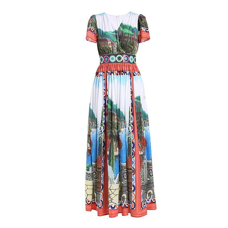 c057e9d316 Nouveau-Designer-Femmes-de-Robe -2019-Printemps-t-Incroyable-Boh-me-Temp-rament-Imprimer-Col-V.jpg