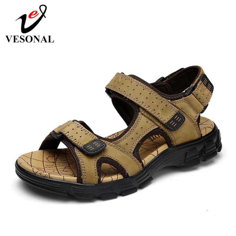 fc29c40d8 VESONAL Лето 2019 г. Новый Классический обувь из натуральной кожи мужские  сандалии для мужчин повседневное