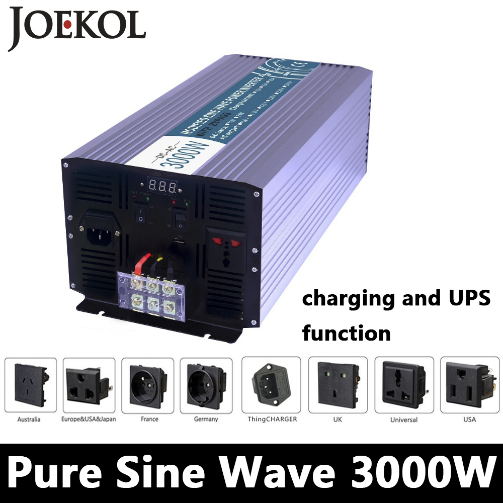 3000W Pure Sine Wave Inverter,DC 12V/24V/48V To AC110V/220V,off Grid Solar voltage converter With Panel Charger And UPS