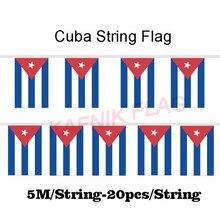 KAFNIK,5 meters 20 faces 14*21CM Cuba String Flag Banner Bar For Party Decoration/World Event Carnival Decor