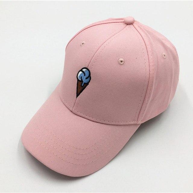 Unisex Cute Pink Hat Men Women s Ice Cream Casual Baseball Cap Bone  Snapback Pink Black White 21bf7a0971e0