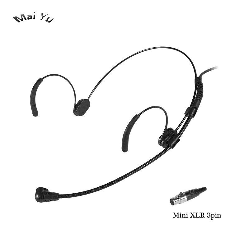 Transmissor Sem Fio do fone de ouvido Preto Com Fio Microfone Condensador Microfone Estéreo de 3.5mm com 3.5 Parafuso Jack Mini XLR 3pin XLR 4pin
