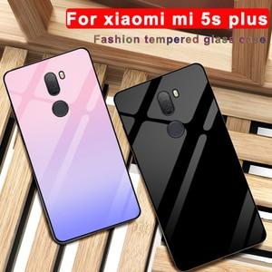 Pour xiaomi mi 5 s plus étui solide couleur verre trempé couverture de téléphone pour xiaomi mi 5splus étui mi 5 s plus dégradé coque en verre