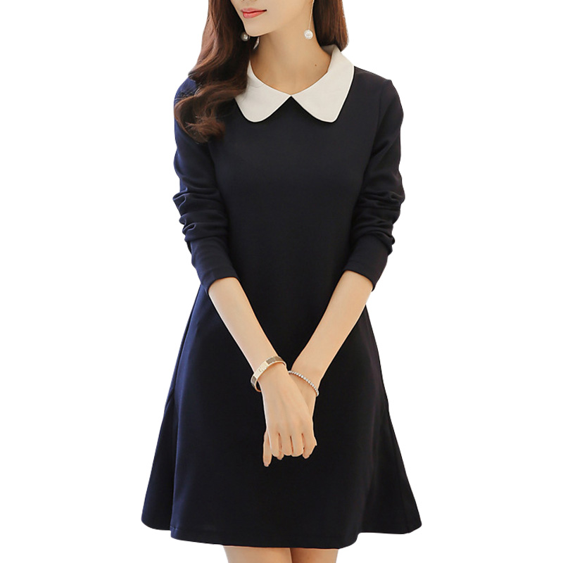 Women Dress A Line One-Piece Frock Slim Dress with Long Sleeve Peter-pan Collar Korean Style -MX8