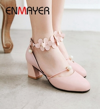ENMAYER 2019 New Arrival  Basic High Heel Flower Pearl Pumps Women Round Toe Casual Buckle Strap Shoes Size 34-43 LY1666