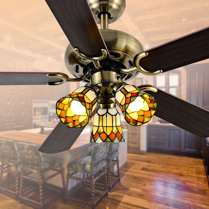 Decorative super quiet ceiling fan 4213 church red shades - Unique ceiling fans with lights ...