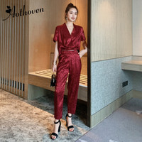 Long Rompers Sexy Women Jumpsuit Summer Party Vintage Short Sleeve V neck Catsuit Overalls Bodysuit Club Pants Playsuits Rompers