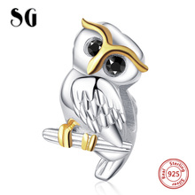 SG owl Charm with cute animal charm bead 925 sterling silver Black cz eyes charms fit DIy charms Bracelet Mother's Day for women sg original owl charms with cz