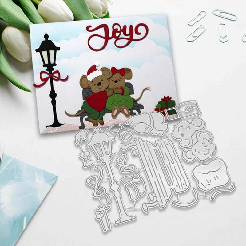 Christmas Mouse Metal Cutting Dies Greeting Cards Scrapbooking Die Stamp DIY Scrapbooking Card Photo Decoration Supplies Flowers