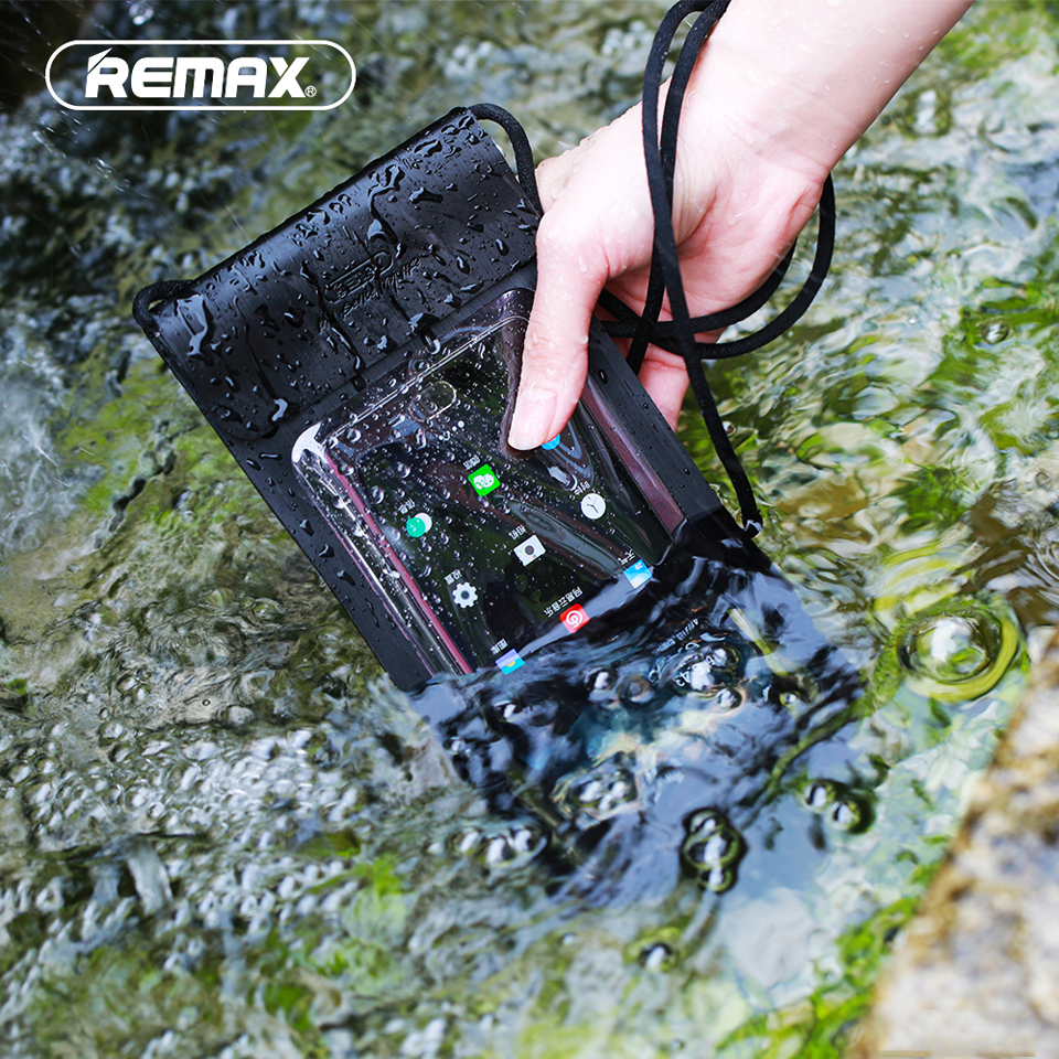 REMAX Waterproof Dry Pouch Phone Case Transparent TPU Soft PU Universal Sealed Bag Mobile Phone Case for iPhone/Samsung/Huawei