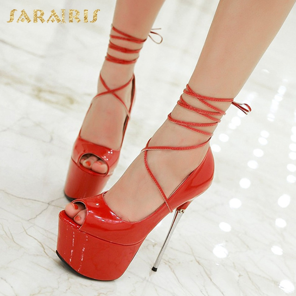 SARAIRIS New Large Sizes 32-43 Peep Toe Summer Party Shoes Women 7 Colors Sexy 16cm Thin High Heels Fashion Red Pumps Shoes enmayer summer women pumps shoes mixed colors peep toe slip on thin heels platform large size 34 47 red pink green brown