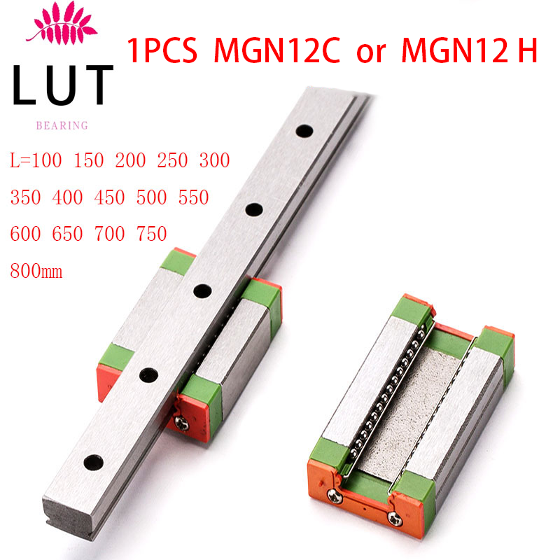 1PCS Miniature Linear Slide L=100 200 300 350 400 450 500 550 600 700 800 Mm Linear Rail Way + MGN12C Or MGN12H
