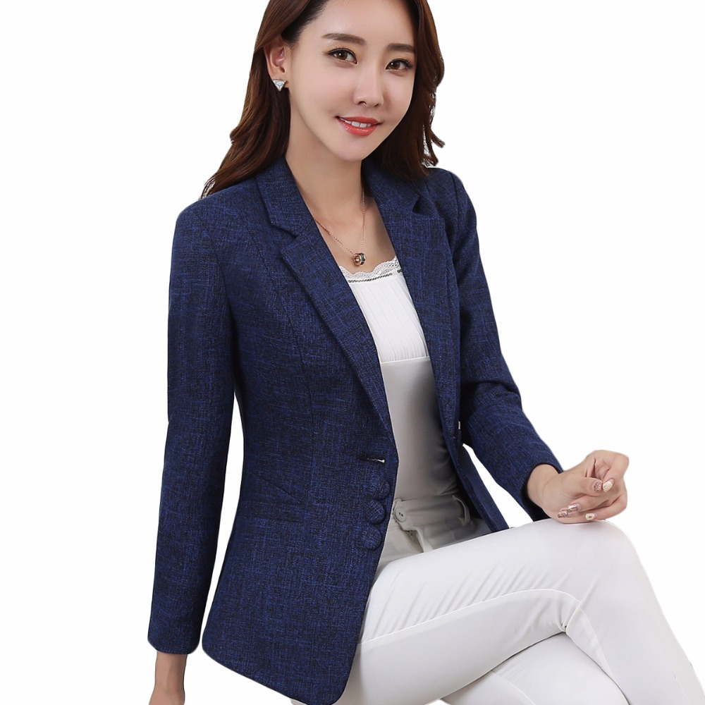 Plus Size 5XL Elegant Business Lady Jacket New 2018 Women Full Sleeve Work Blazer Female Casual Coat Six Color Available