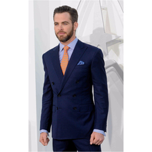 New Style Navy Blue Double Breasted Men Suits Formal Tuxedo Slim Fit Skinny 2 Piece Custom Groom Blazer Masculino (Jacket+Pants)