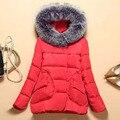 Venta caliente de la moda abrigo de invierno de las mujeres natural DX145-1 capucha cuello de piel cálida chaqueta de invierno de las mujeres prendas de vestir exteriores femenina