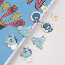 6 pcs Alloy Hippo Koala Bear Omelet Seal Enamel Charms DIY Bracelet Cartoon Animals Pendants Handmade Jewelry Accessories FX092