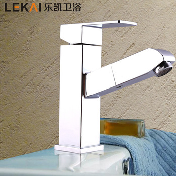 Large bathroom hot and cold mixing faucet lift vertical faucet wholesale Nanan Quartet double basin faucet