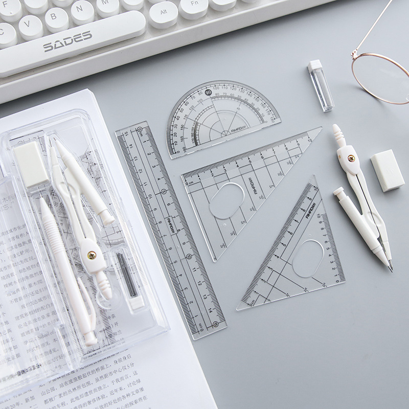 Math Sets School Student Mathematical Geometry Drawing Tools 8 In 1 Suit Stationery Protractor Math Study Tool Kit Supplies