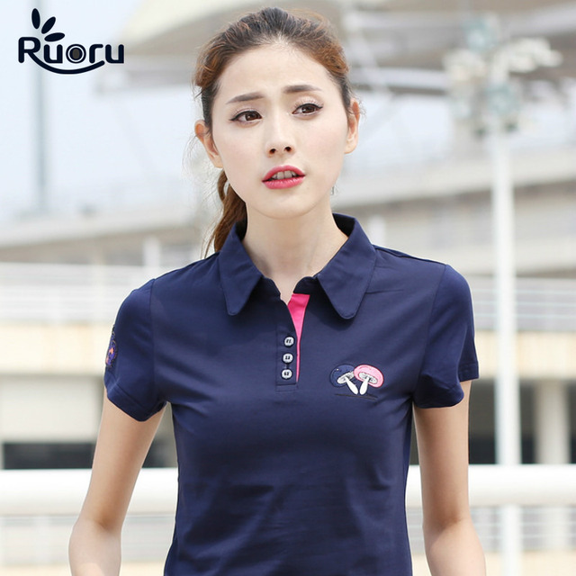 01e09caf3 Ruoru M- 6XL Large Size Brand Mushroom Embroidery Women Polo Shirt Casual Ladies  Polo Shirt Slim Polo Femme Women Cotton Polo