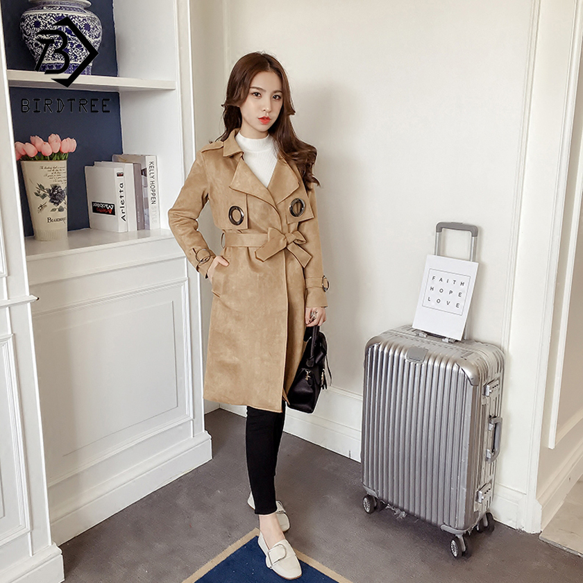 Women's 2018 New Fashion Solid   Trench   Full Sleeve Turn-down Collar Sashes Loose Open Stitch Style Slim Outerwear Hots C87926LD